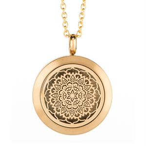 Picture of Floral Essential Oil Locket Gold